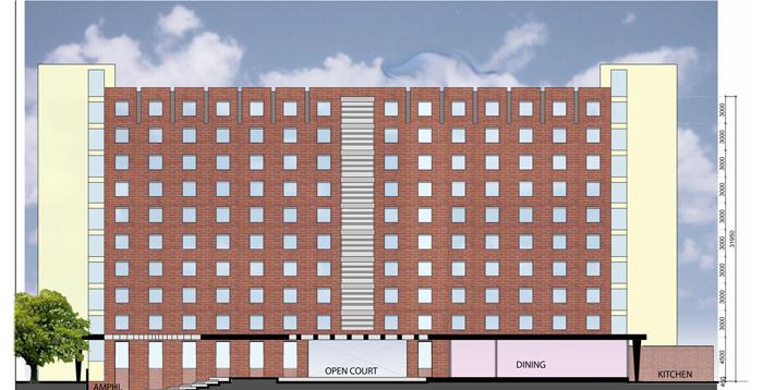 Floor Home Front Elevation : Girls hostel infrastructure unit